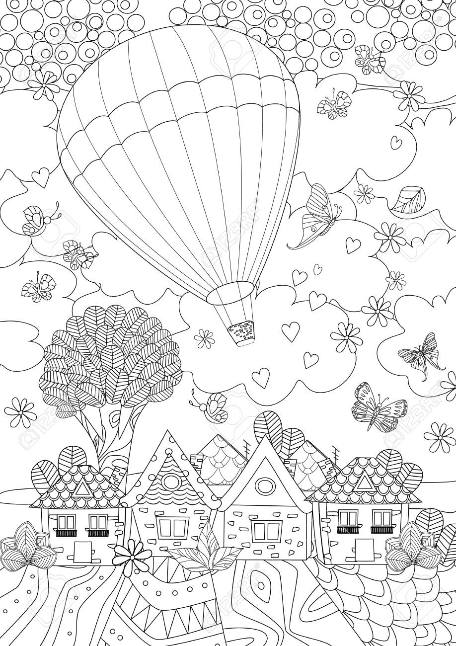 Hot air balloon in the sky above the cute city for your coloring book - 94824067