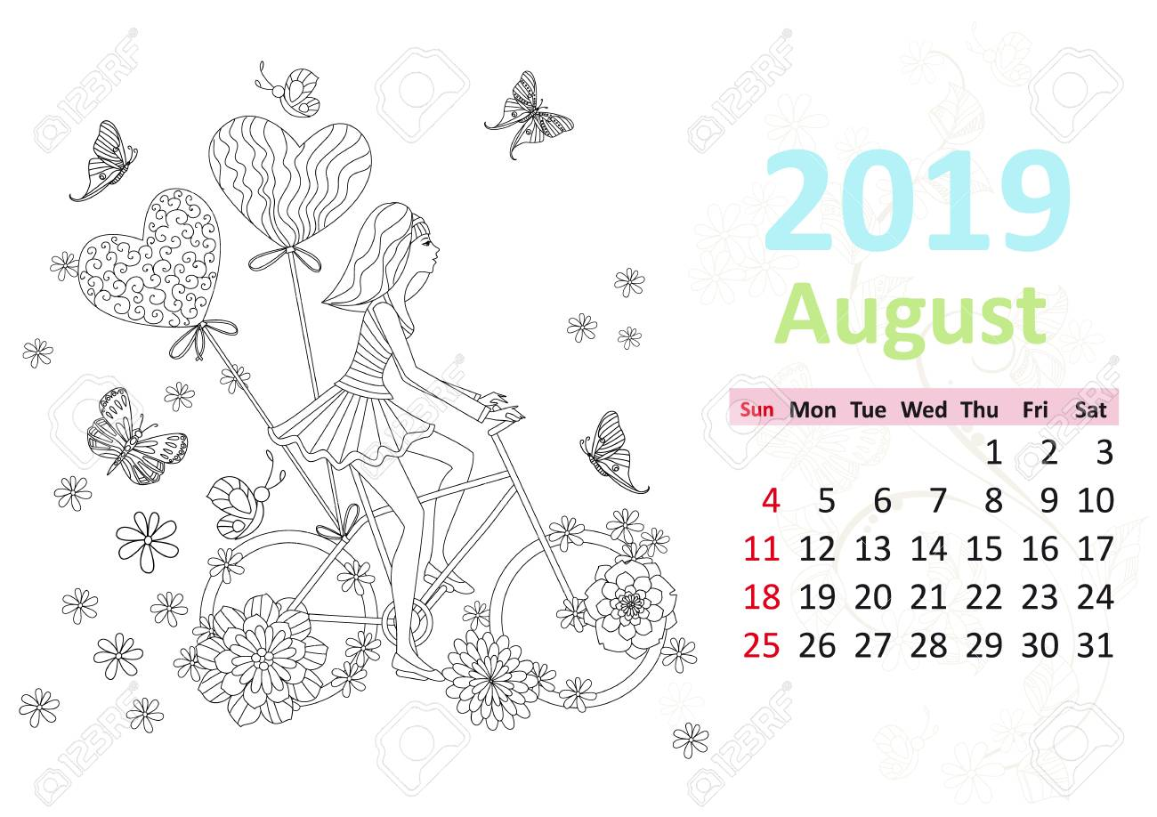 happy coloring page calendar for 2019 august stock vector 107715361