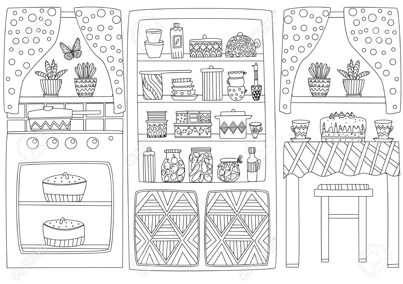 Cozy Kitchen Interior For Your Coloring Page Royalty Free Cliparts Vectors And Stock Illustration Image 117088371