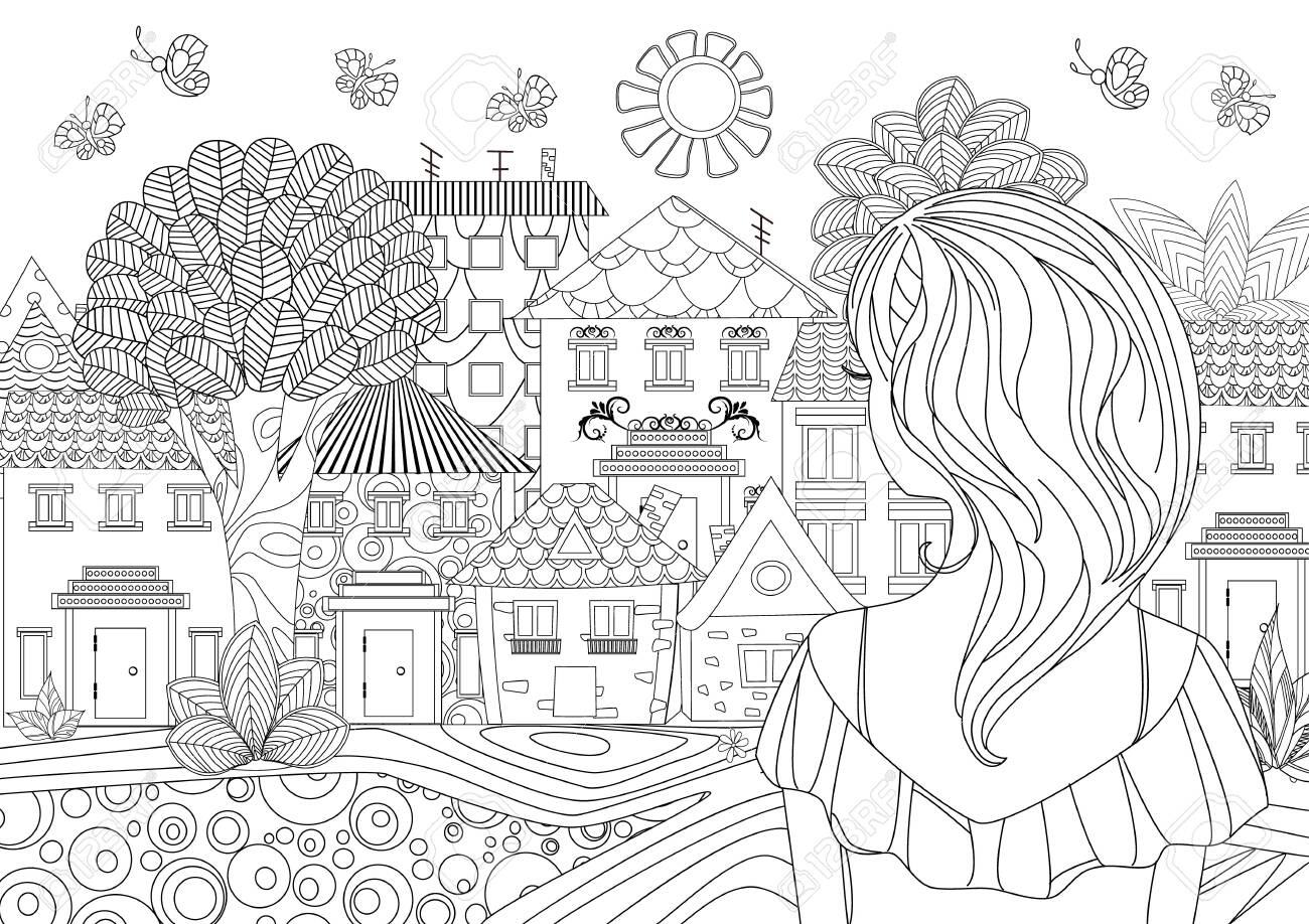 Detailed Landscape Coloring Pages For Adults Part 5 Colorful