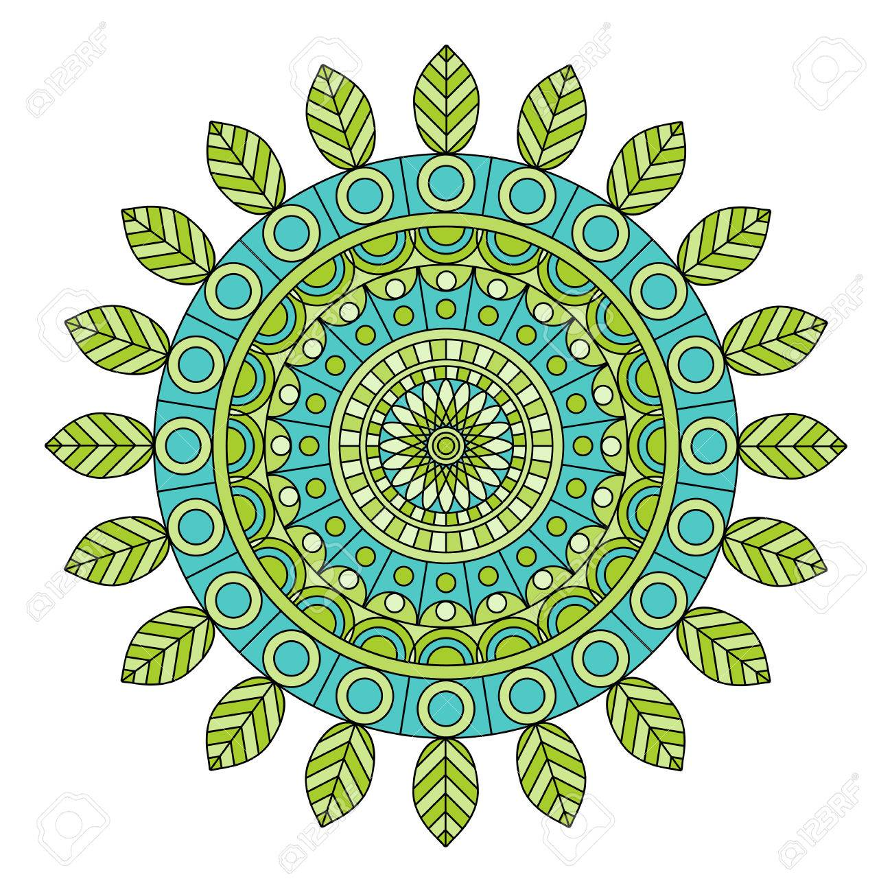 Color Floral Mandala Vector Illustration Royalty Free Cliparts