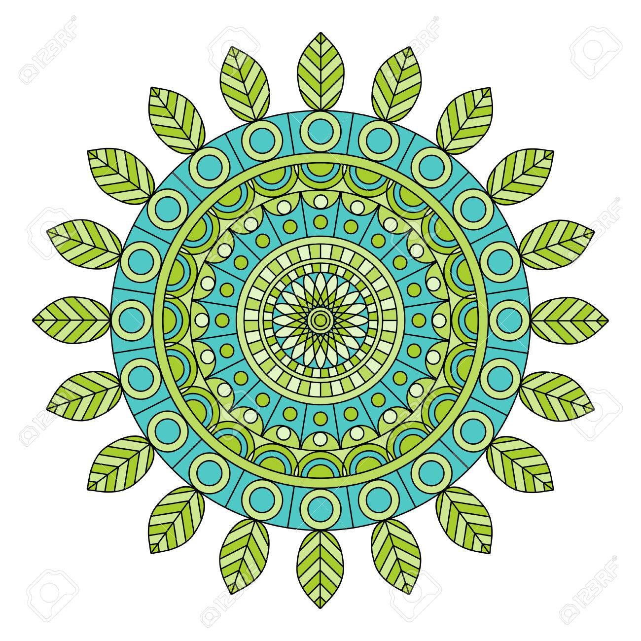 Color Floral Mandala Vector Illustration Royalty Free Cliparts
