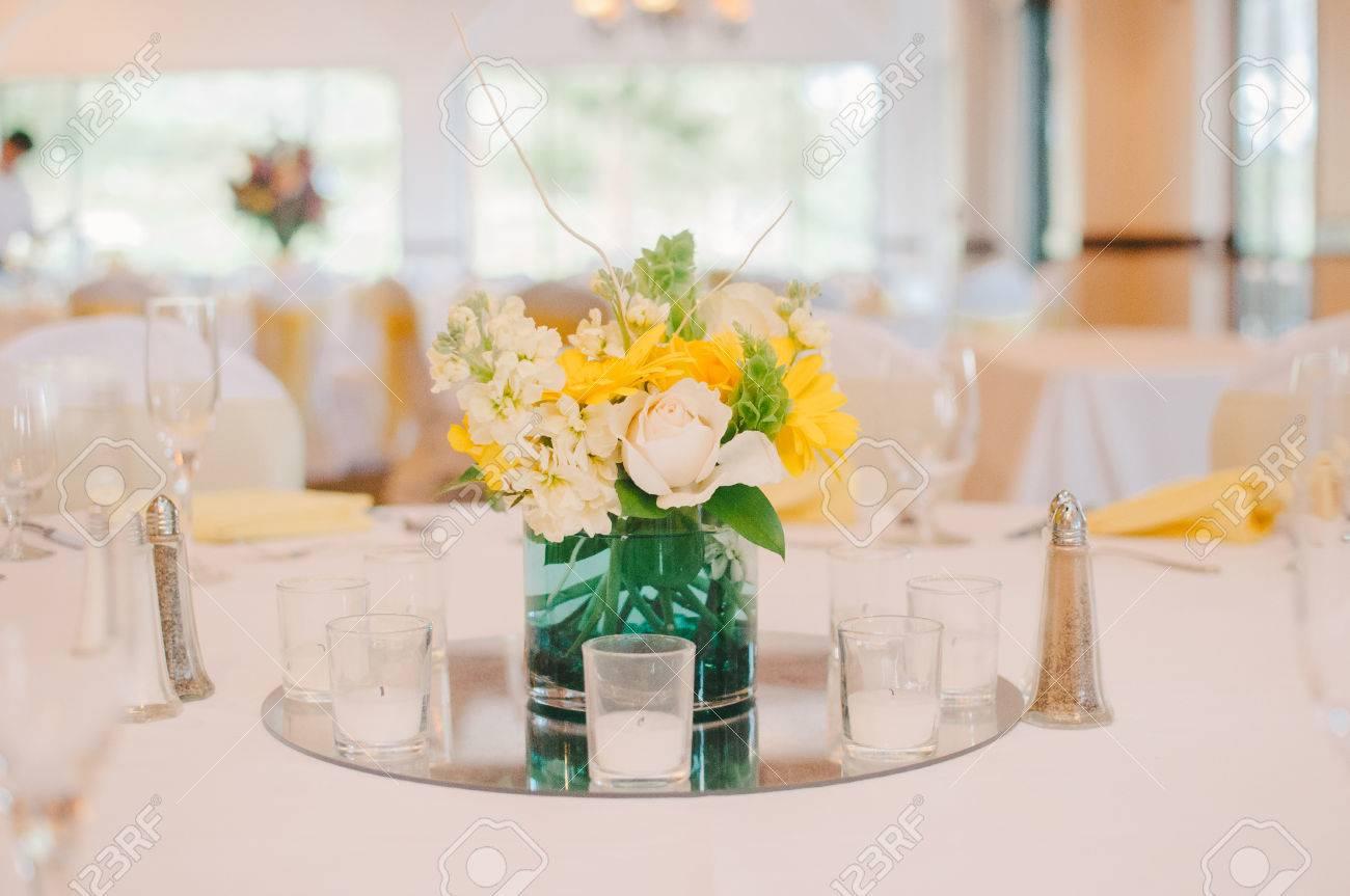 Yellow White Wedding Reception Centerpiece