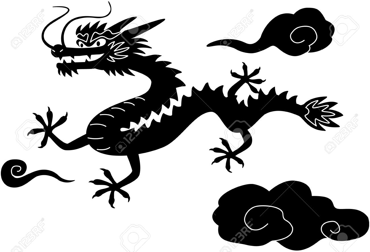 chinese new year dragon black white clip art isolated on white stock vector 12017434