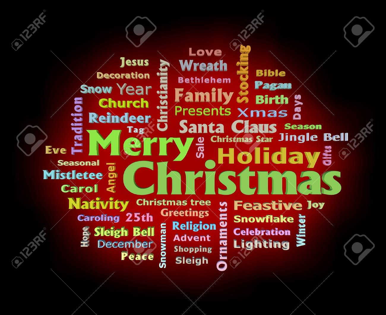 Merry Christmas Red Color Glow 3d Texts Greetings Word Cloud Stock