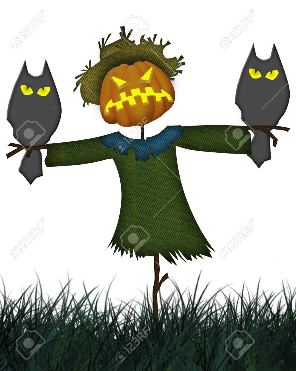 Abstract colorful background with  Halloween scarecrow. Halloween theme Stock Photo - 10775276