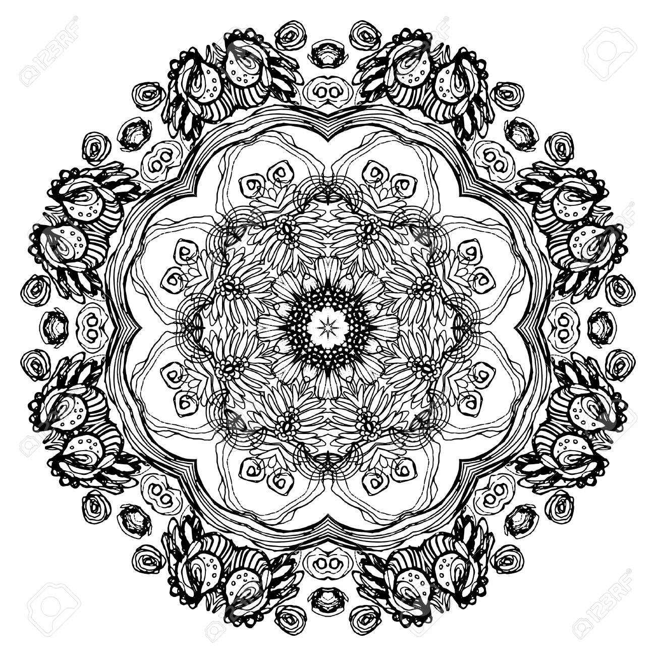 Round ornament for coloring book for adults and kids mandala ethnic decorative element