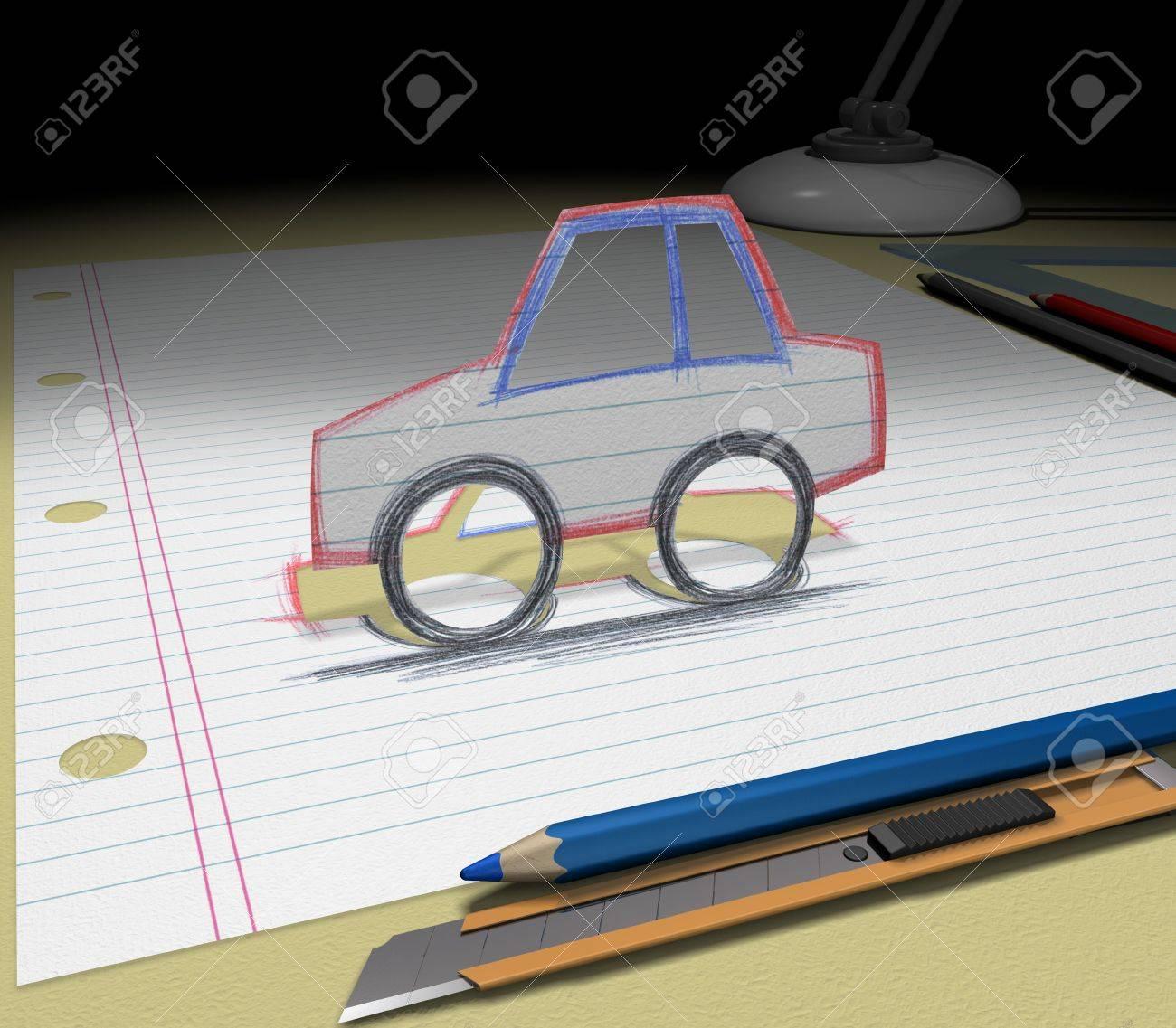In Ihrem Traum Sie Ein Auto Kaufen. Skizzieren Sie Ihre Ideen Und ...