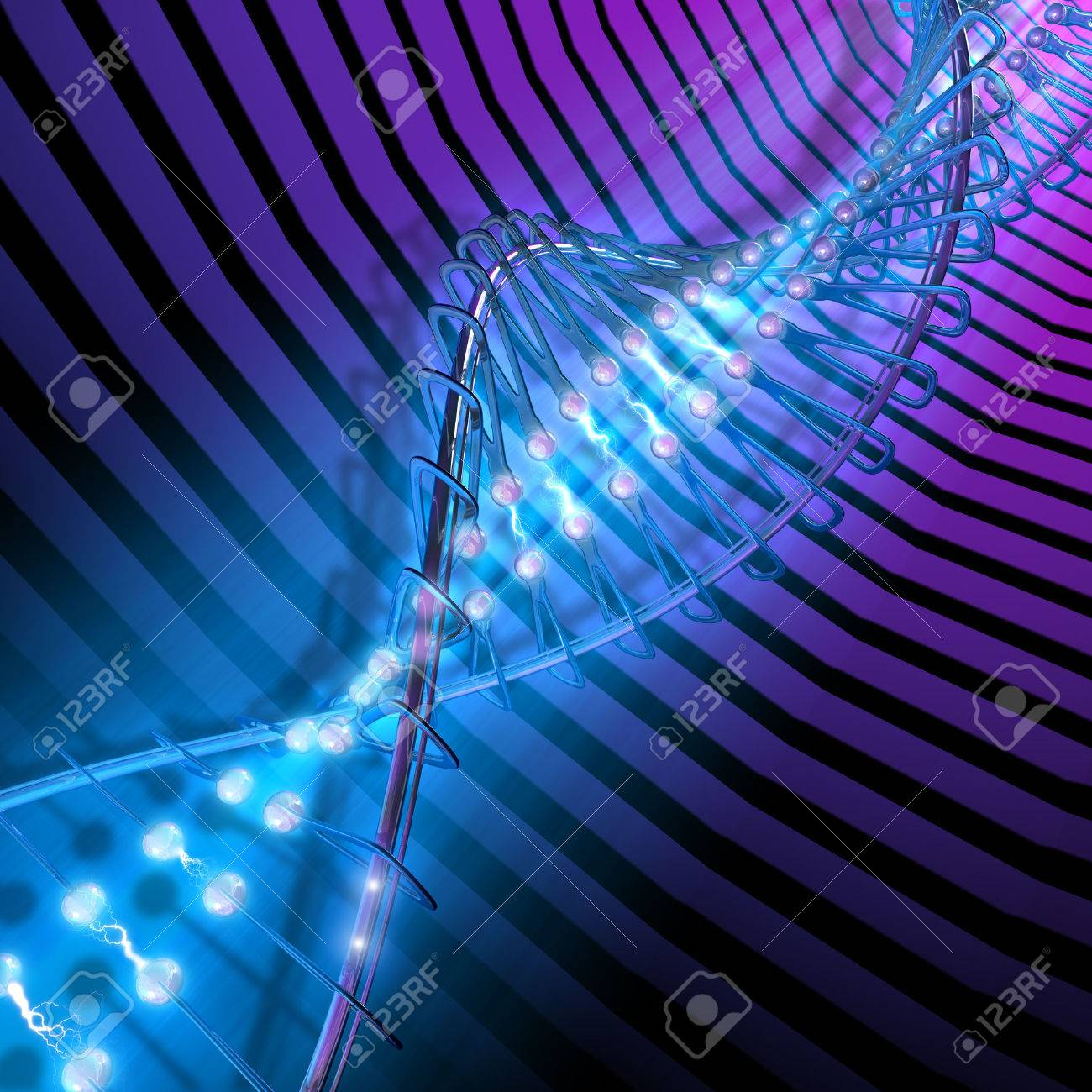 Concept of DNA mixing organism + mechanism + electronics. The science of the future, mixing humans with digital components. Stock Photo - 1412384