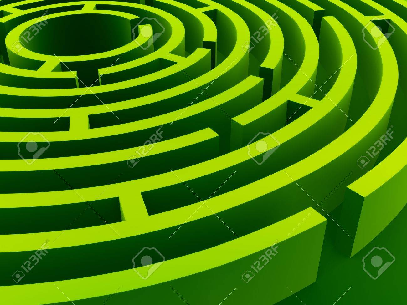 Green labyrinth in diagonal perspective Stock Photo - 2406103