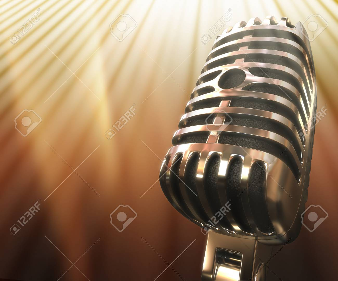 Classic microphone. Your text on the left space. Stock Photo - 3394162