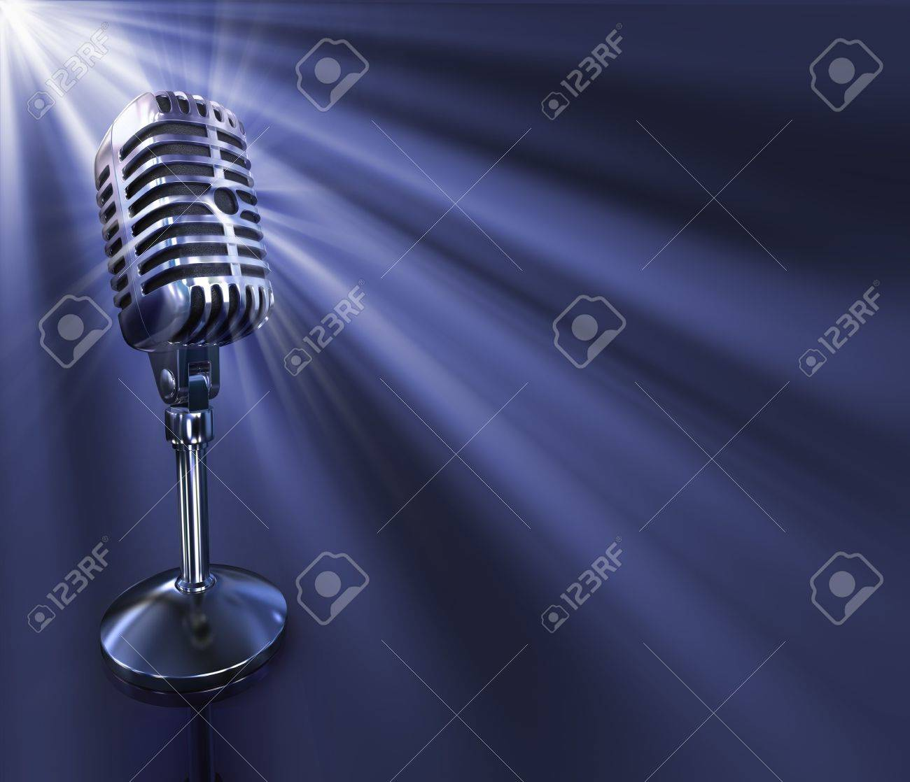 Classic microphone. Your text on the right space. Stock Photo - 3394160