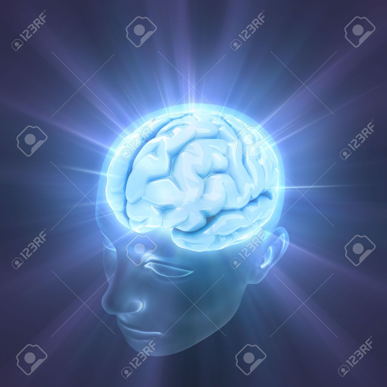 Head illuminated by the energy of the brain. Concept of thinking, the power of mind. Stock Photo - 3582150