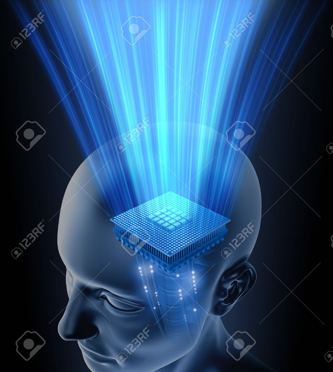 Concept of thinking. Your brain is your processor. You can put your text on the rays. Stock Photo - 3582152