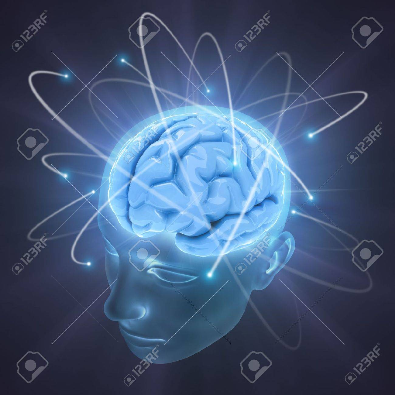 Electrons revolve around the brain. Concept of idea, the power of mind. Stock Photo - 3582151