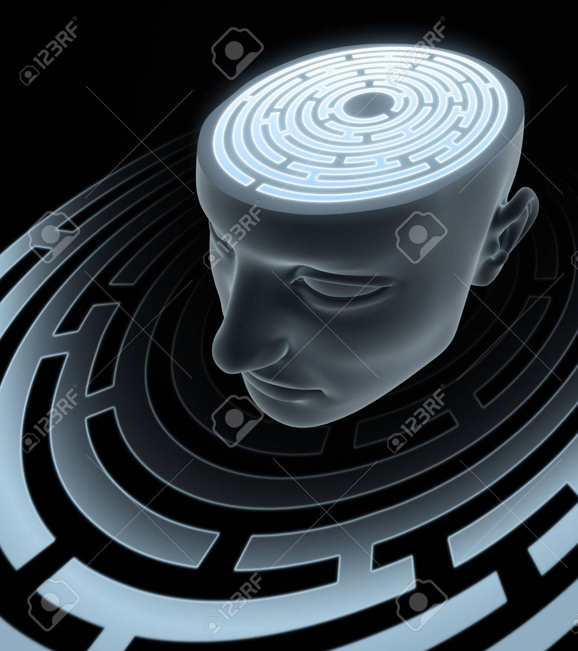 Psychic Mind. Labyrinth inside of the head. Stock Photo - 3705722