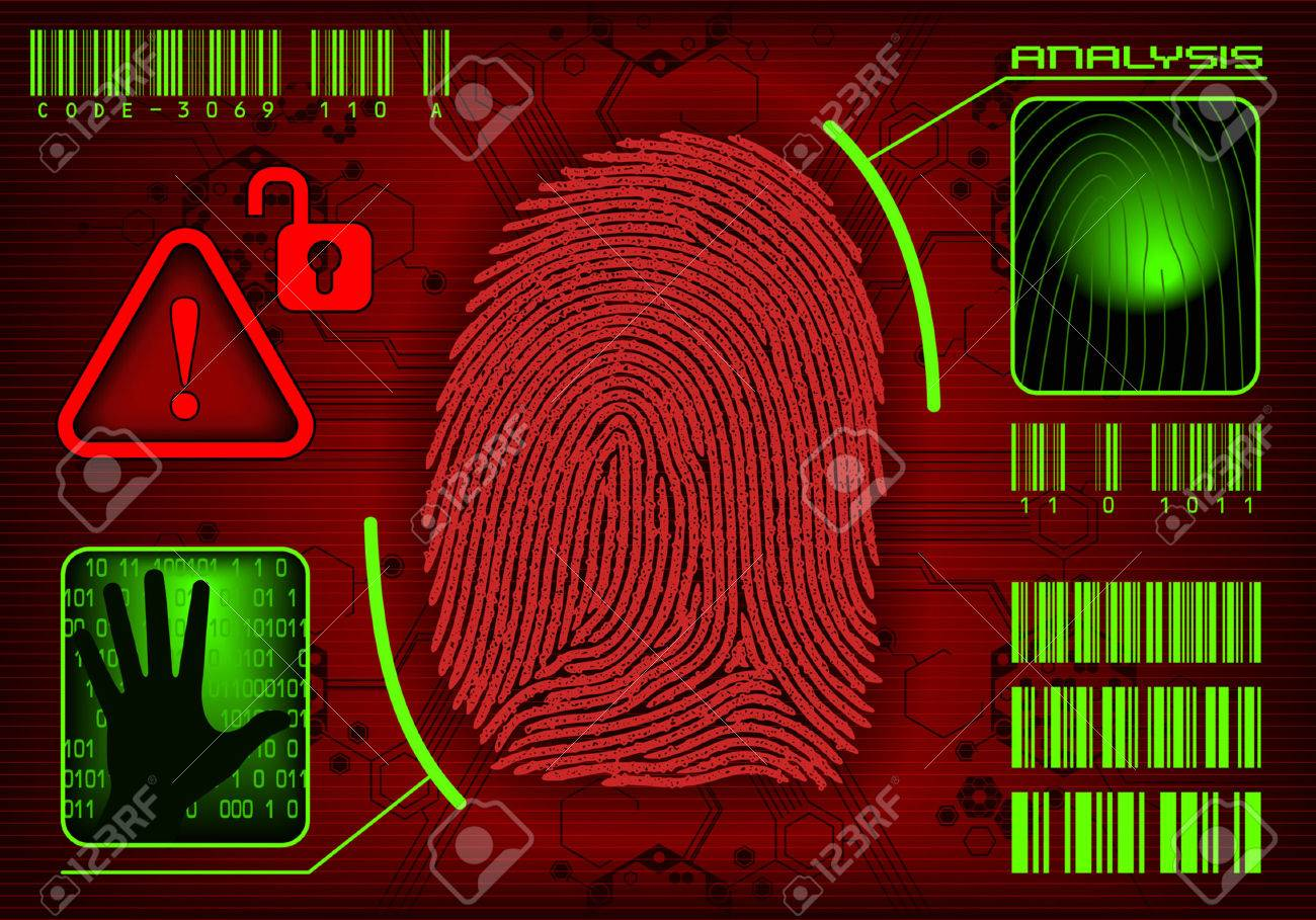 Fingerprint Access. Vector image add or remove information Stock Vector - 6240195