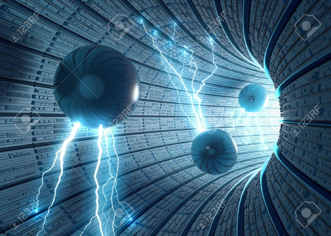 Science Fiction Background. Inside an abstract tunnel with electric spheres. Concept of energy, technology and science. - 6798090
