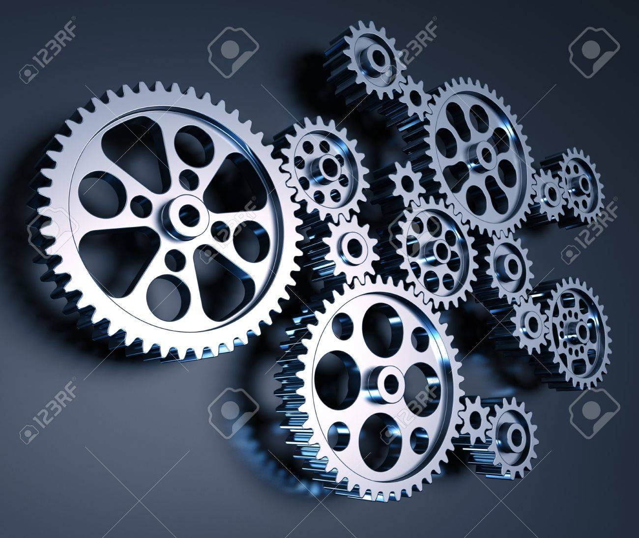 Set of gears interconnected forming a machine concept. - 7315165