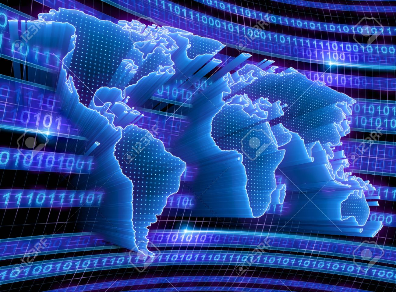 3D World Map with binary code, dots and lights representing the digital world. Concept of digital technology around the world. - 8929120
