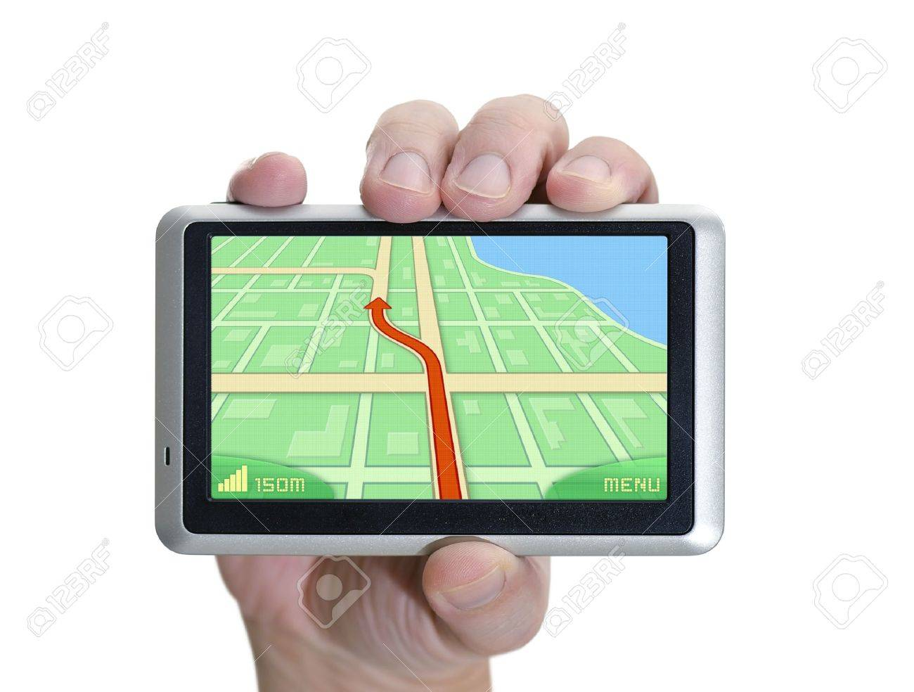 GPS device in hand over white. - 10243590