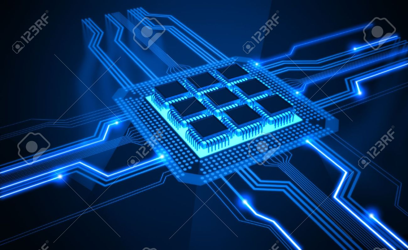 Central Processing Unit. A processor (microchip) interconnected receiving and sending information. Concept of technology and future. - 10529426