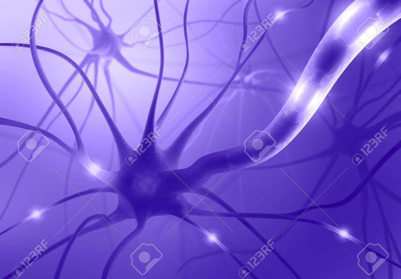 Interconnected neurons transferring information with electrical pulses. - 10756993