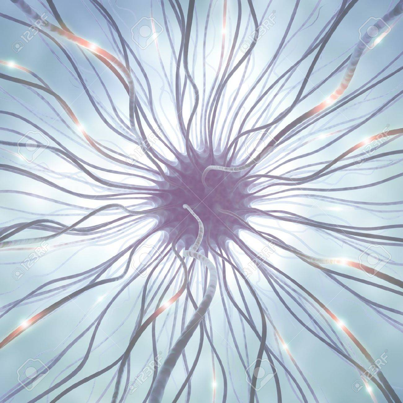 Interconnected neurons transferring information with electrical pulses. - 10803477