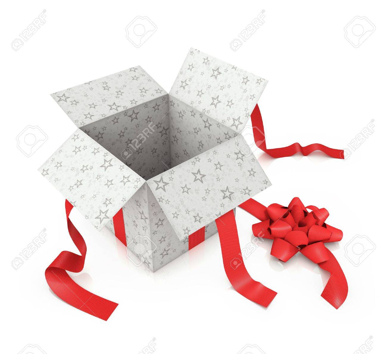 Open gift with star prints and textured red ribbon. - 11329572