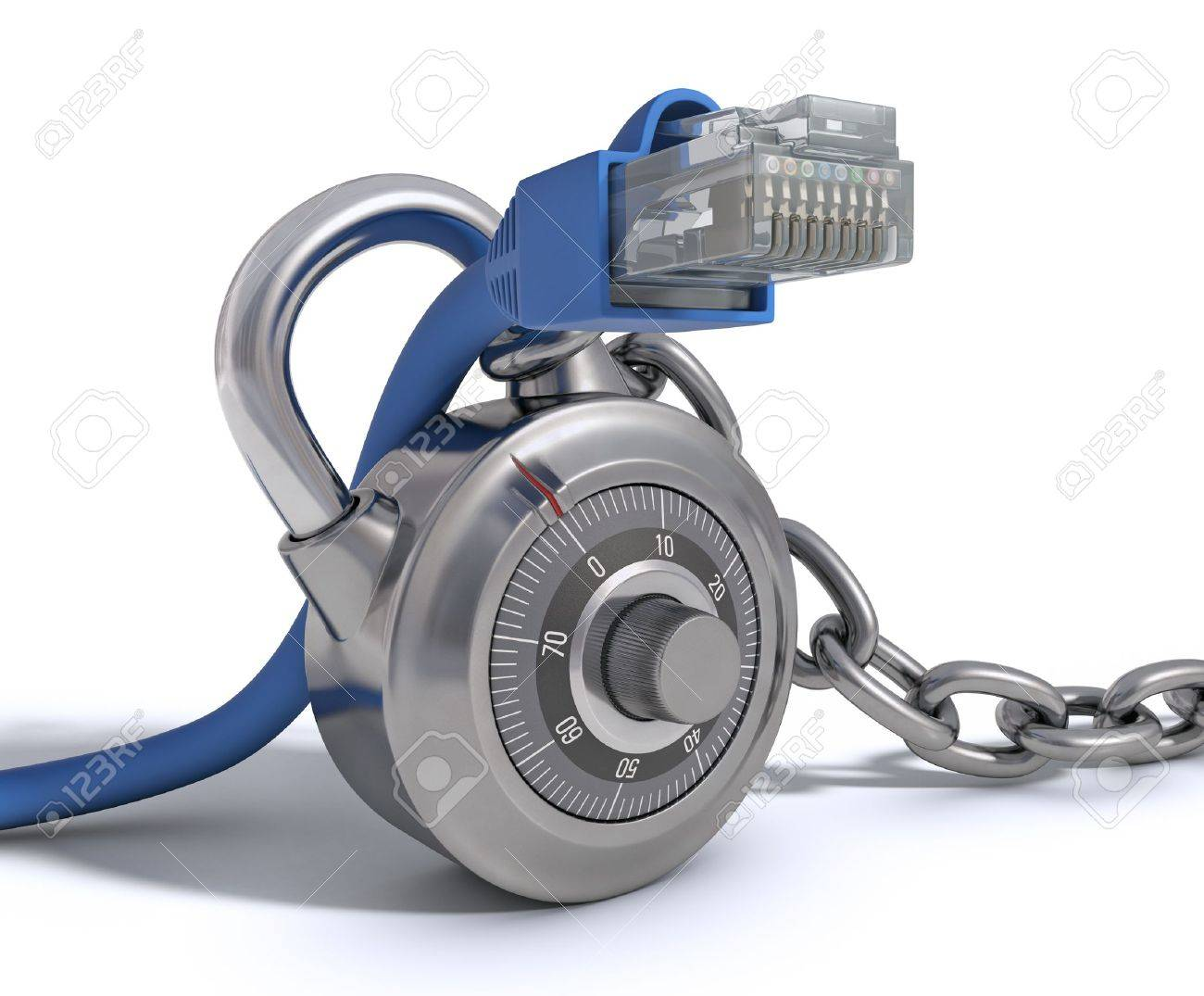 RJ45 Cable protected by conceptual padlock Concept of protection of internet - 12798590