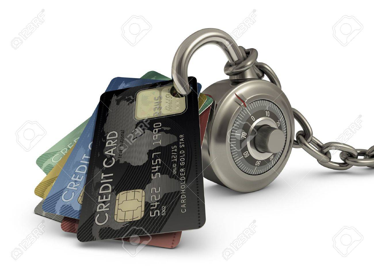 Credit card stuck in a lock code. Concept of protection against theft of your money. Stock Photo - 12932237