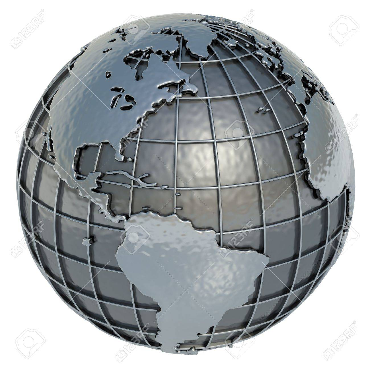The Americas Planet Earth made of metal on a white background - 12997608