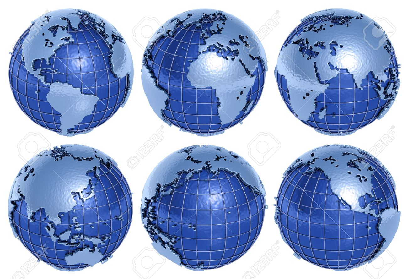 The globe of the Planet Earth in six sides on a white background. - 13102096