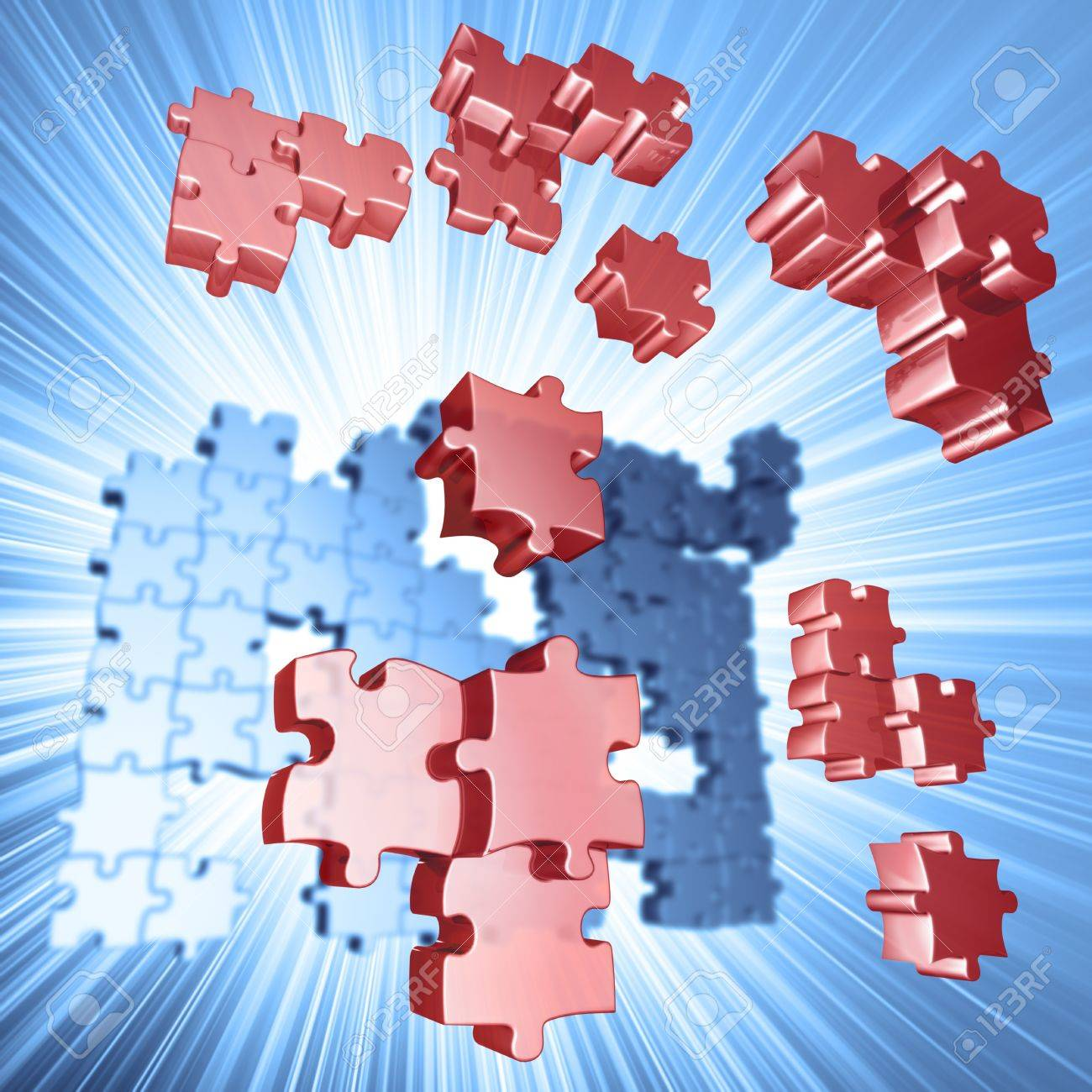 Explosion of puzzle pieces. Concept ideas and solutions. Stock Photo - 13404691
