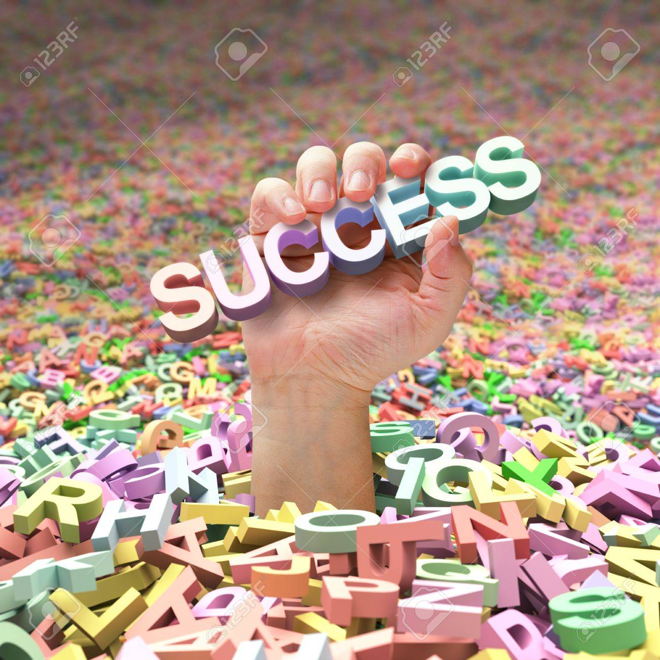 In the middle of an ocean of letters, a hand going up and holding the word success. Concept of the difficulty of finding success in the midst of so many possibilities. Stock Photo - 14613125