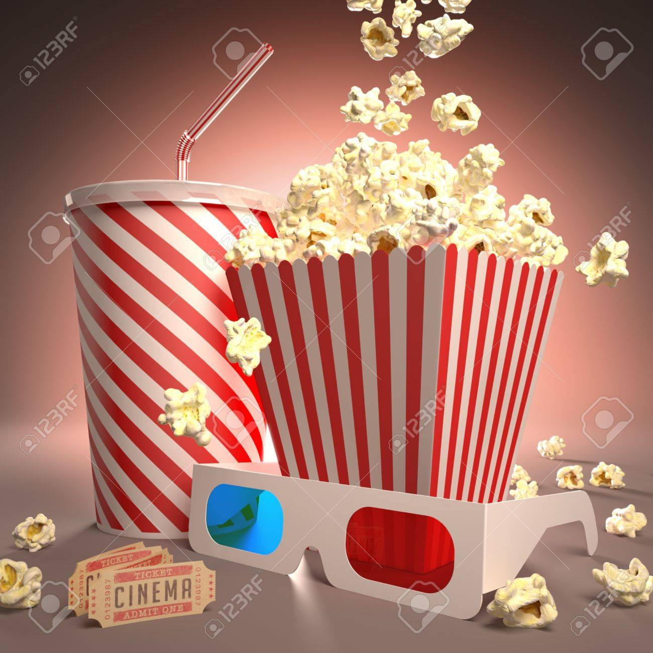Popcorn, soda, 3D glasses and movie tickets, ready for the film. - 16005225