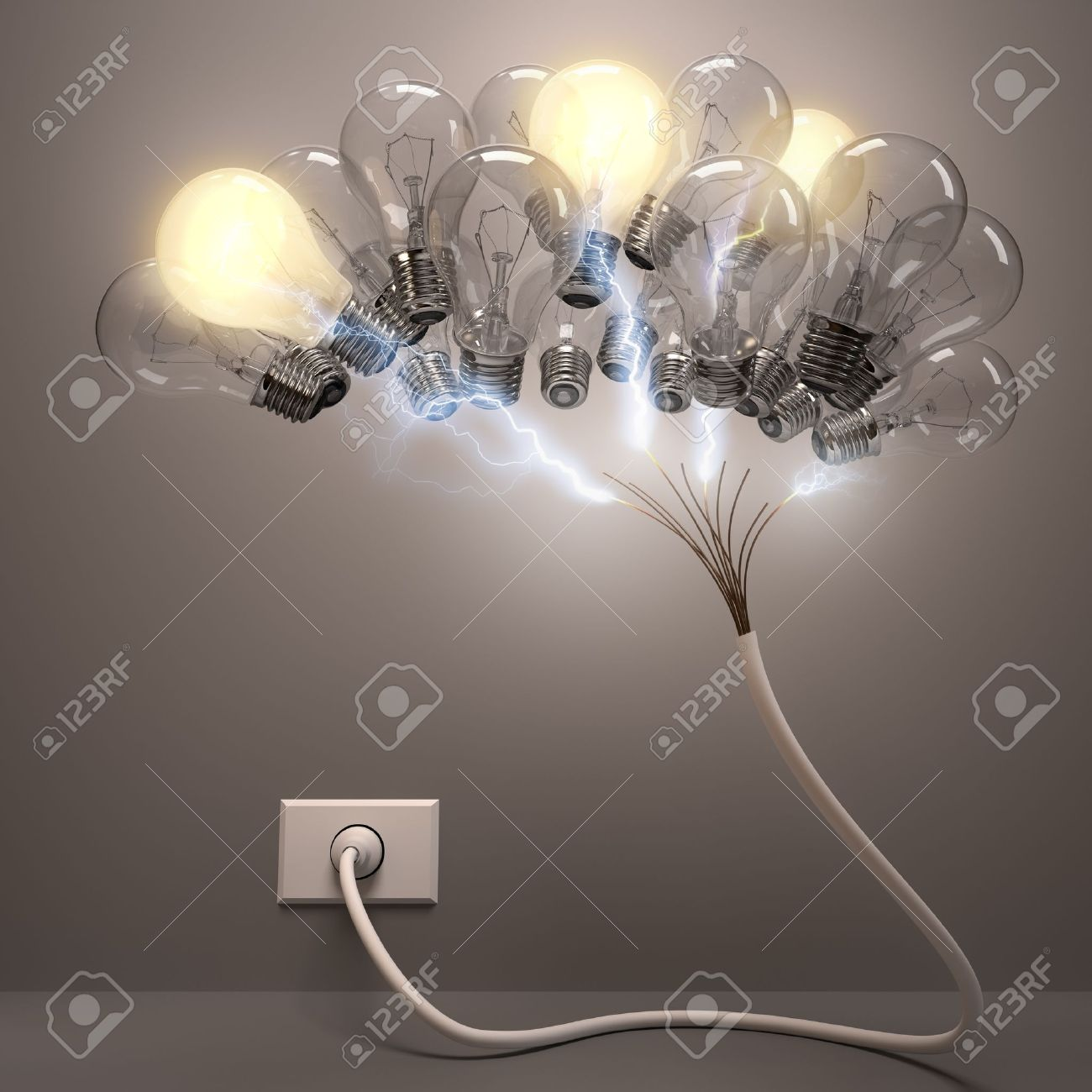 Grouped lamps shaped brain. Some lamps lighting, concept of active neurons. - 19905644