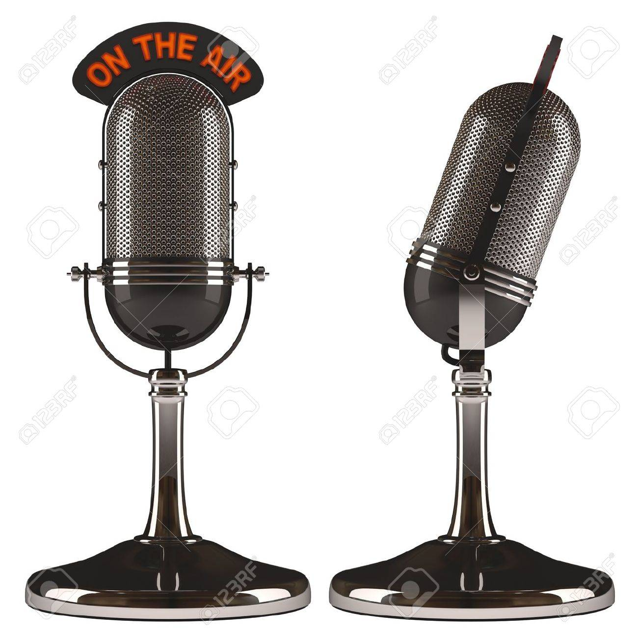 Old classic microphone on white background, easy to isolate. - 20850948