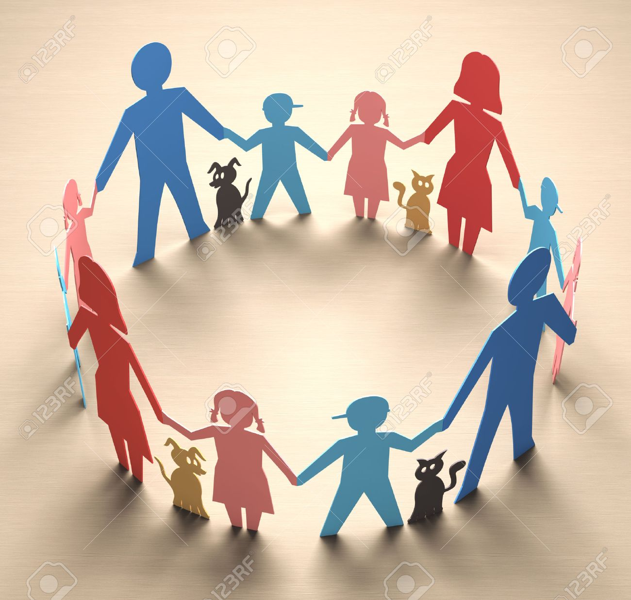 Happy family forming a circle of unity - 23008525