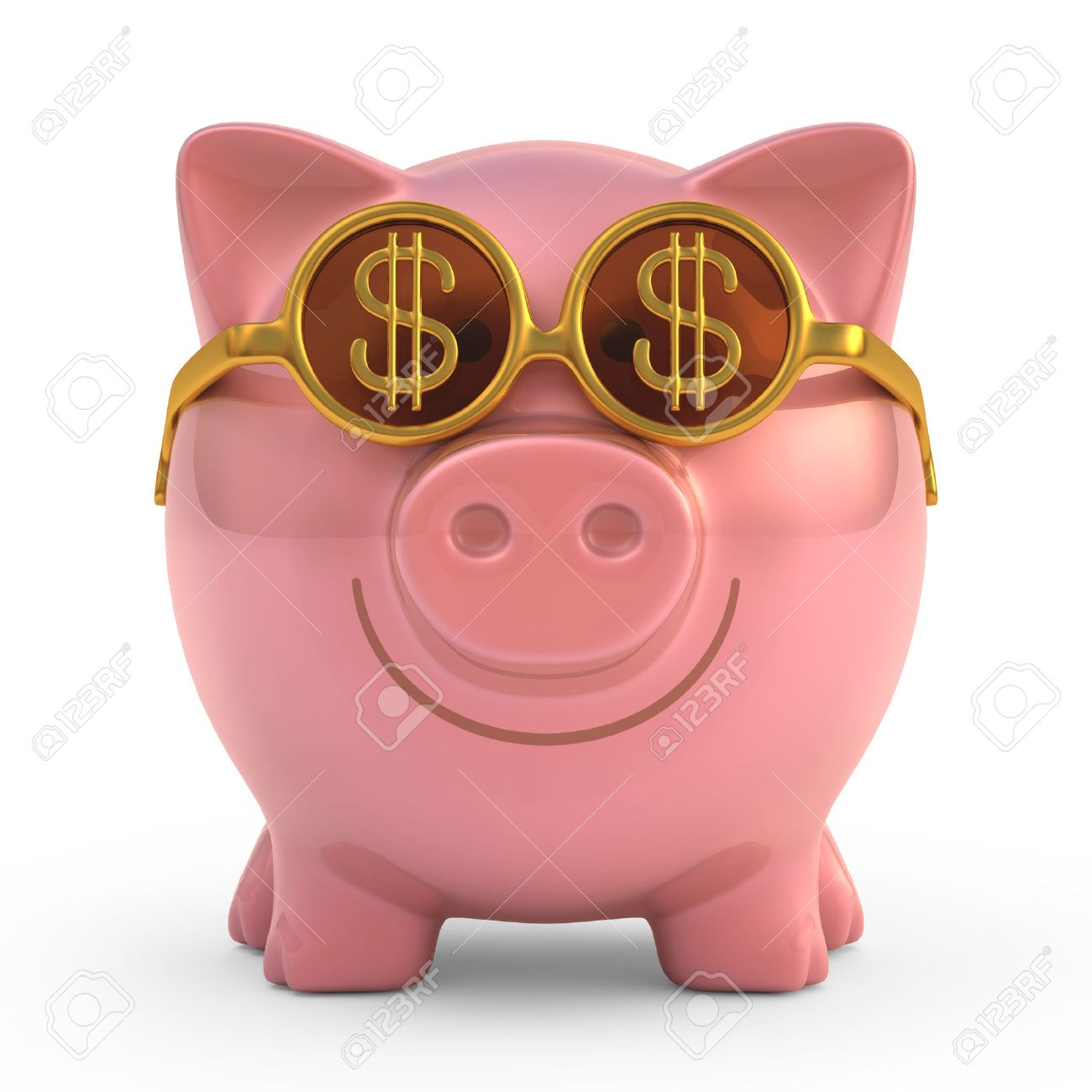 Piggy bank wearing sunglasses with money sign. - 23018853