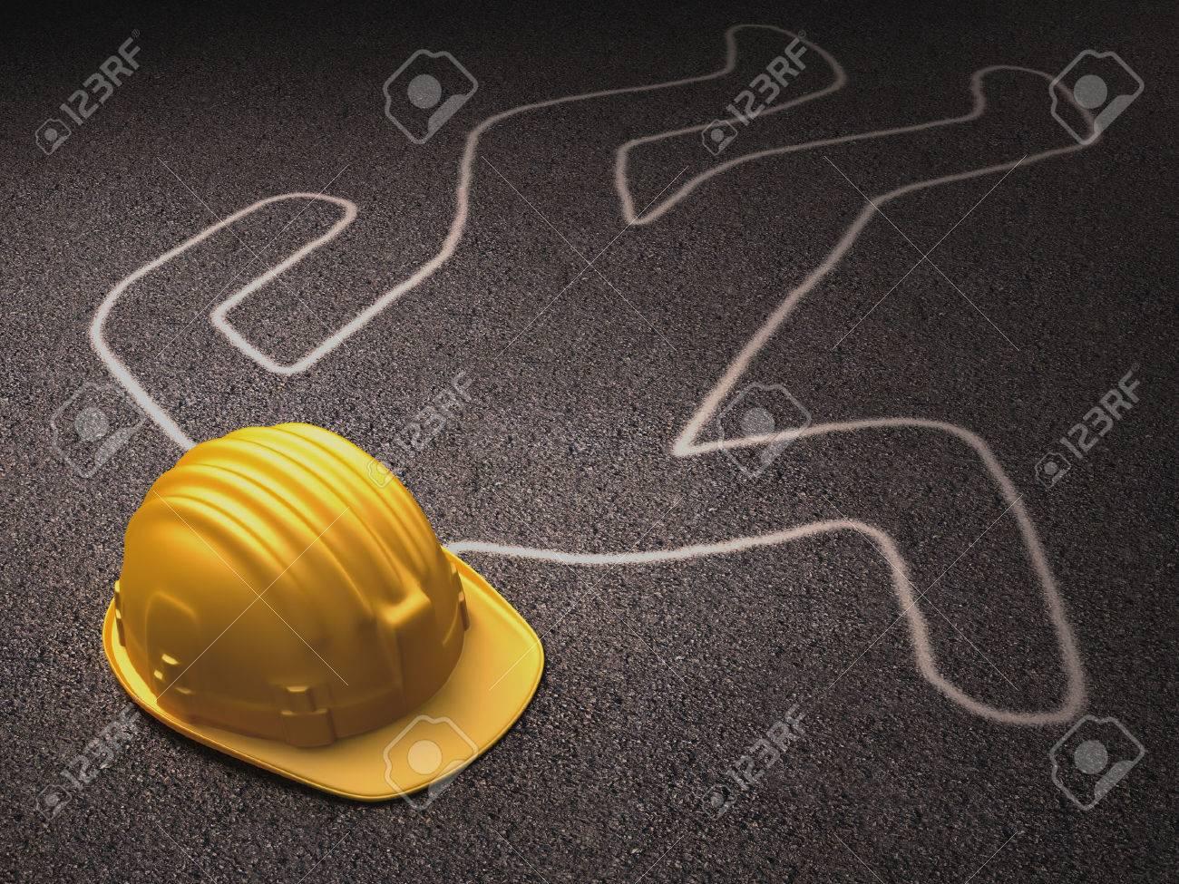 A Helmet Over The Dead Body Outline Stock Photo