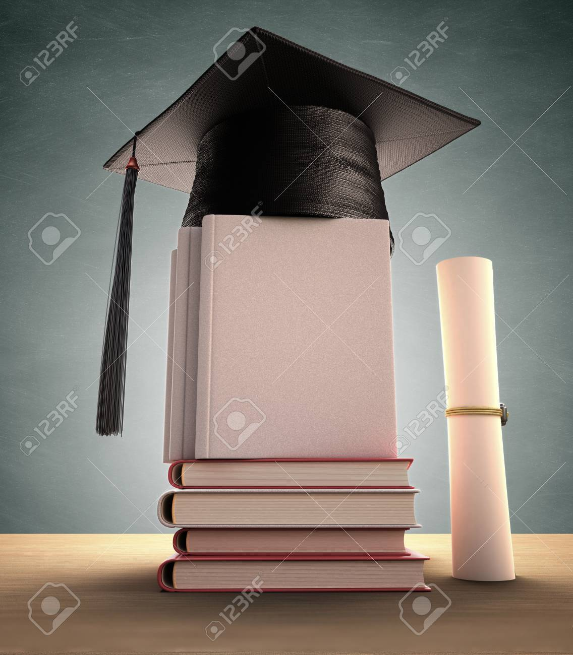 Graduation cap over the pile of books. Your image or text on the cover book. Clipping path included. - 27430585