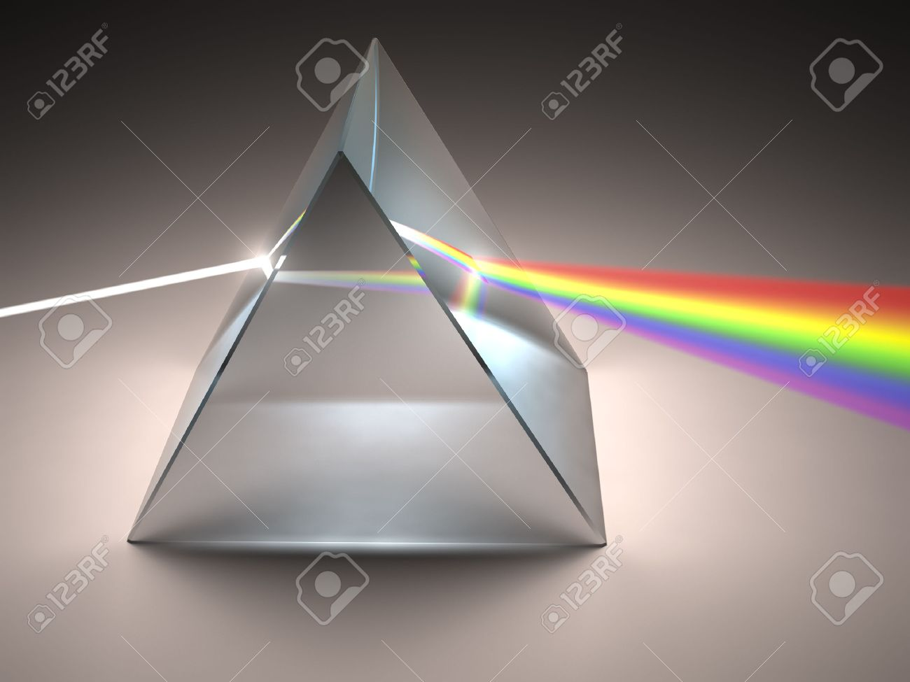 The crystal prism disperses white light into many colors. - 29284422