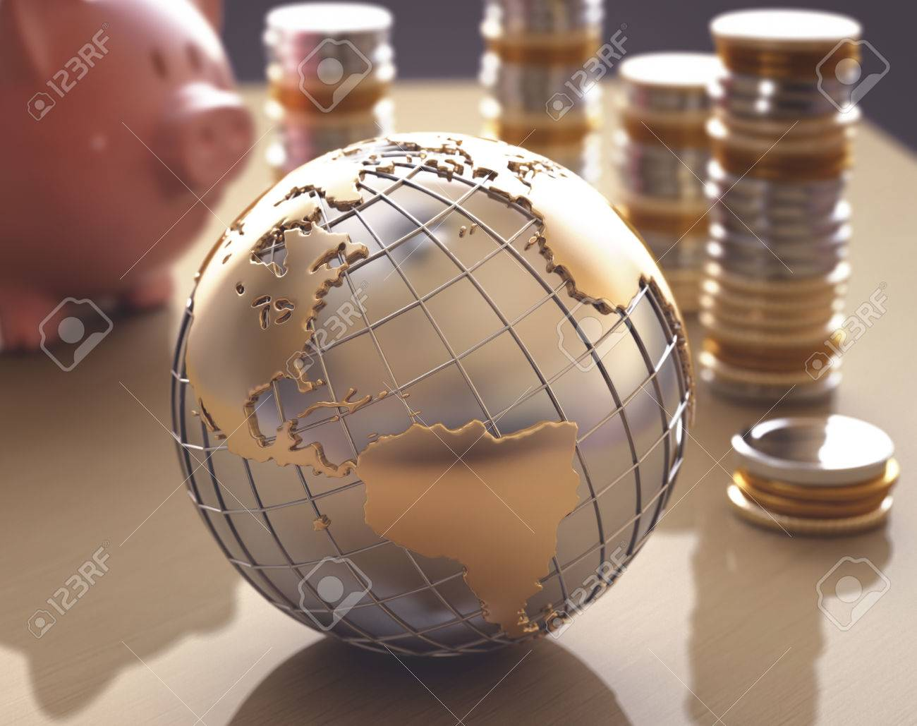 Planet Earth made of gold and silver on a concept of the business world. - 29284619
