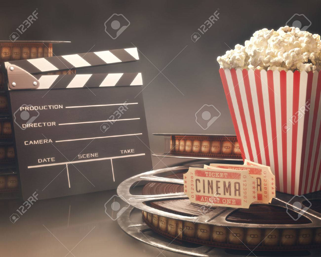 Objects related to the cinema on reflective surface - 29866302