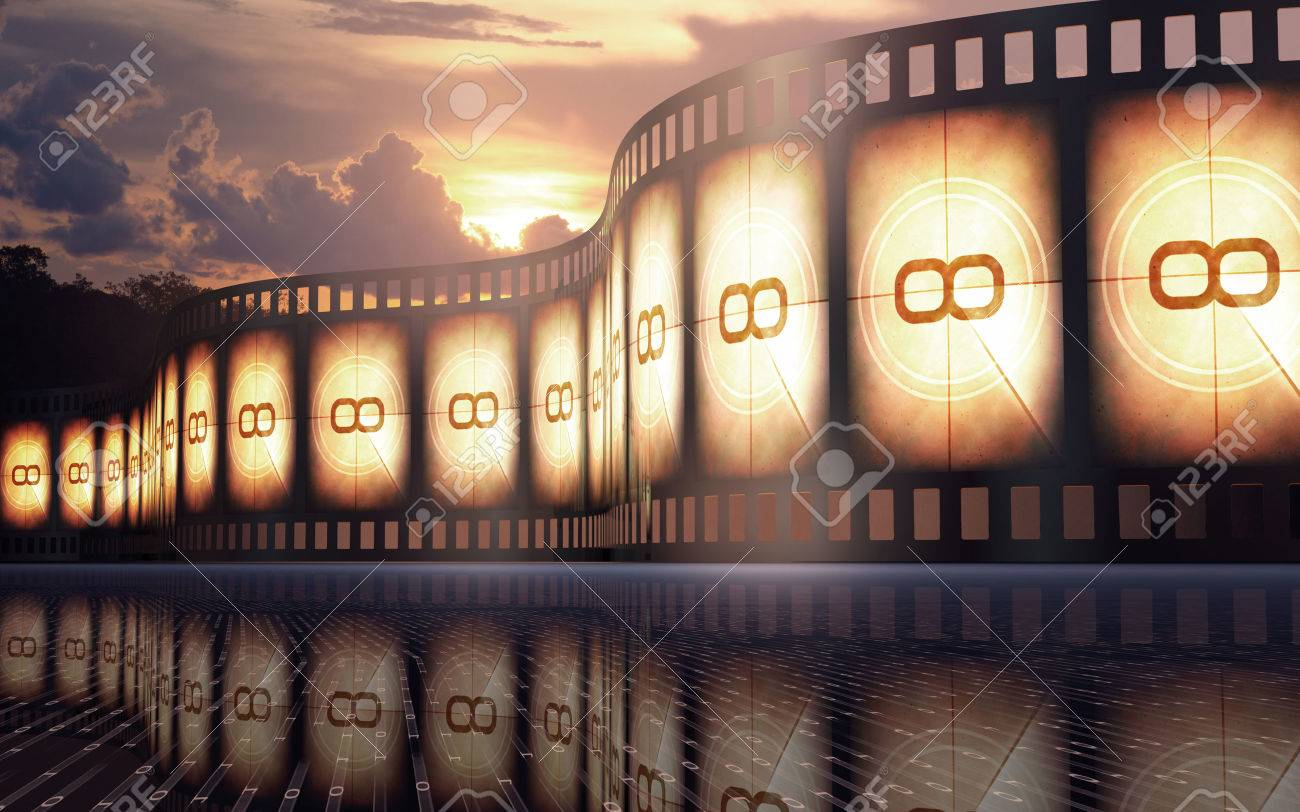 Filmstrip over the reflexive floor with sunset on the background - 29869468
