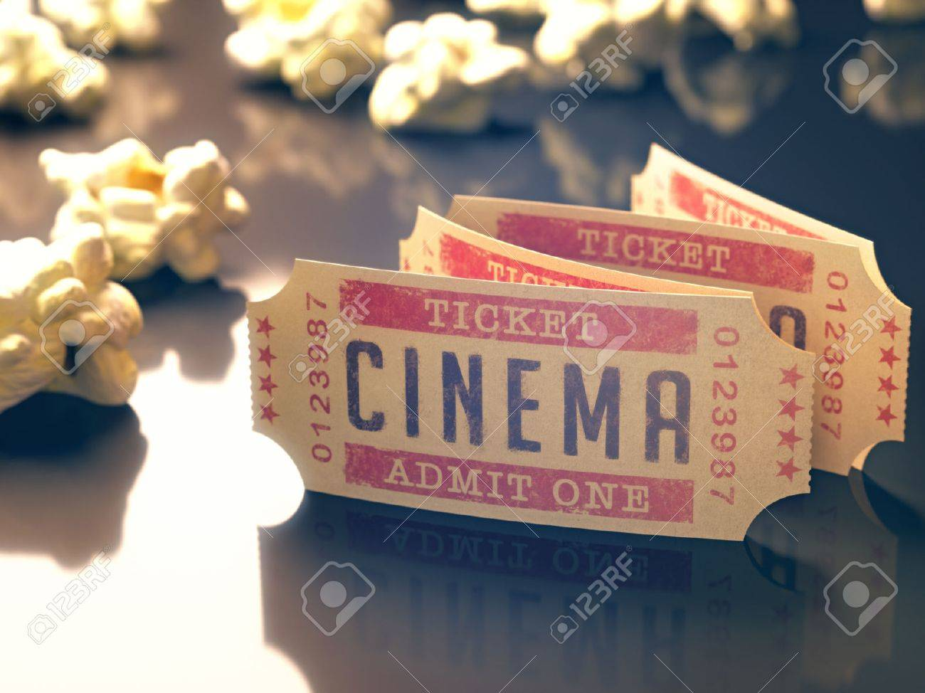 Entry ticket to the cinema with popcorn around. Clipping path included. - 30194372