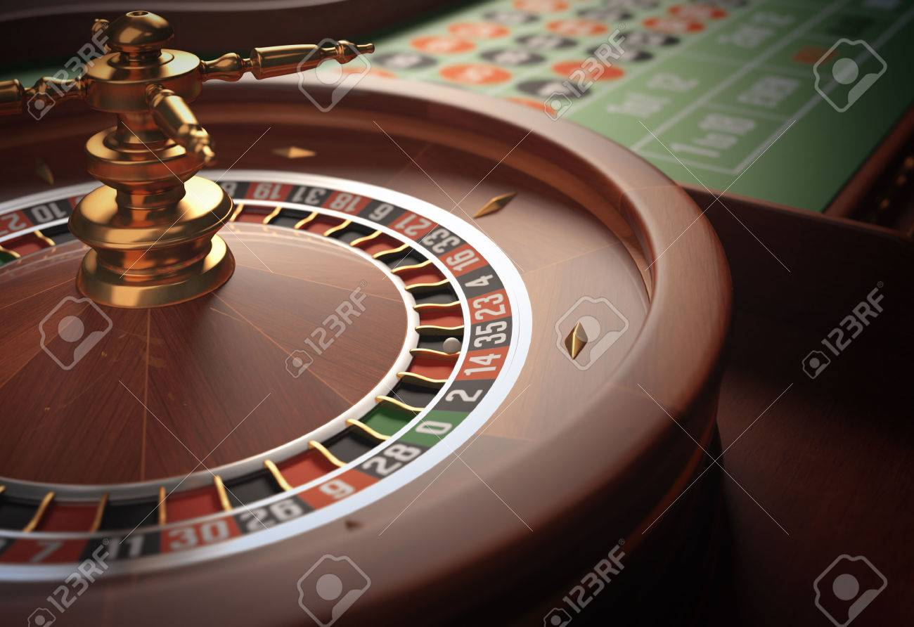Playing roulette in the casino. Depth of field in the ball. - 31051551