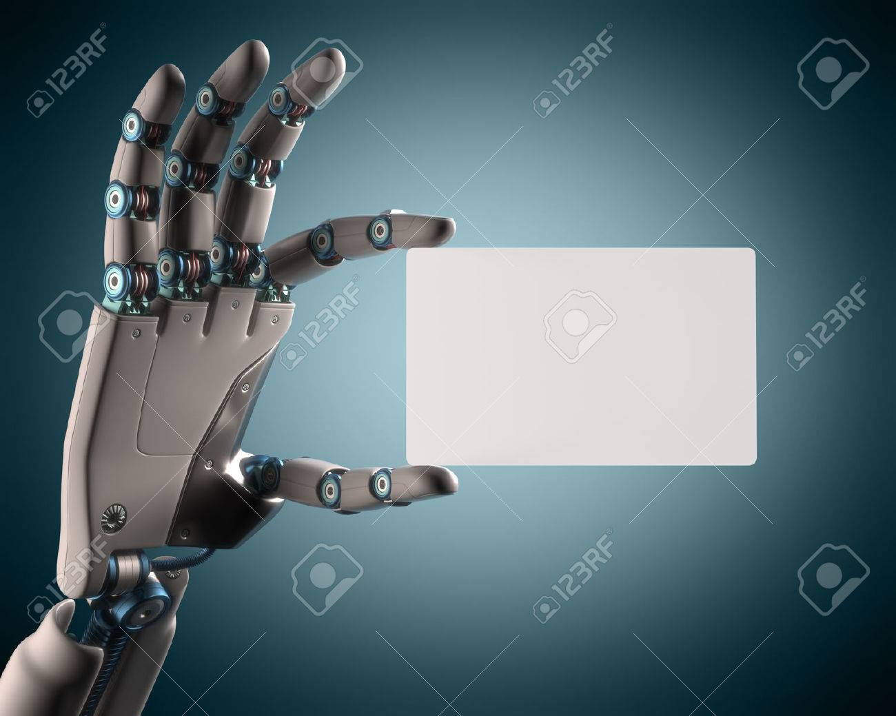 Robotic hand holding a blank card. Your text on the card. Clipping path included. - 32817817