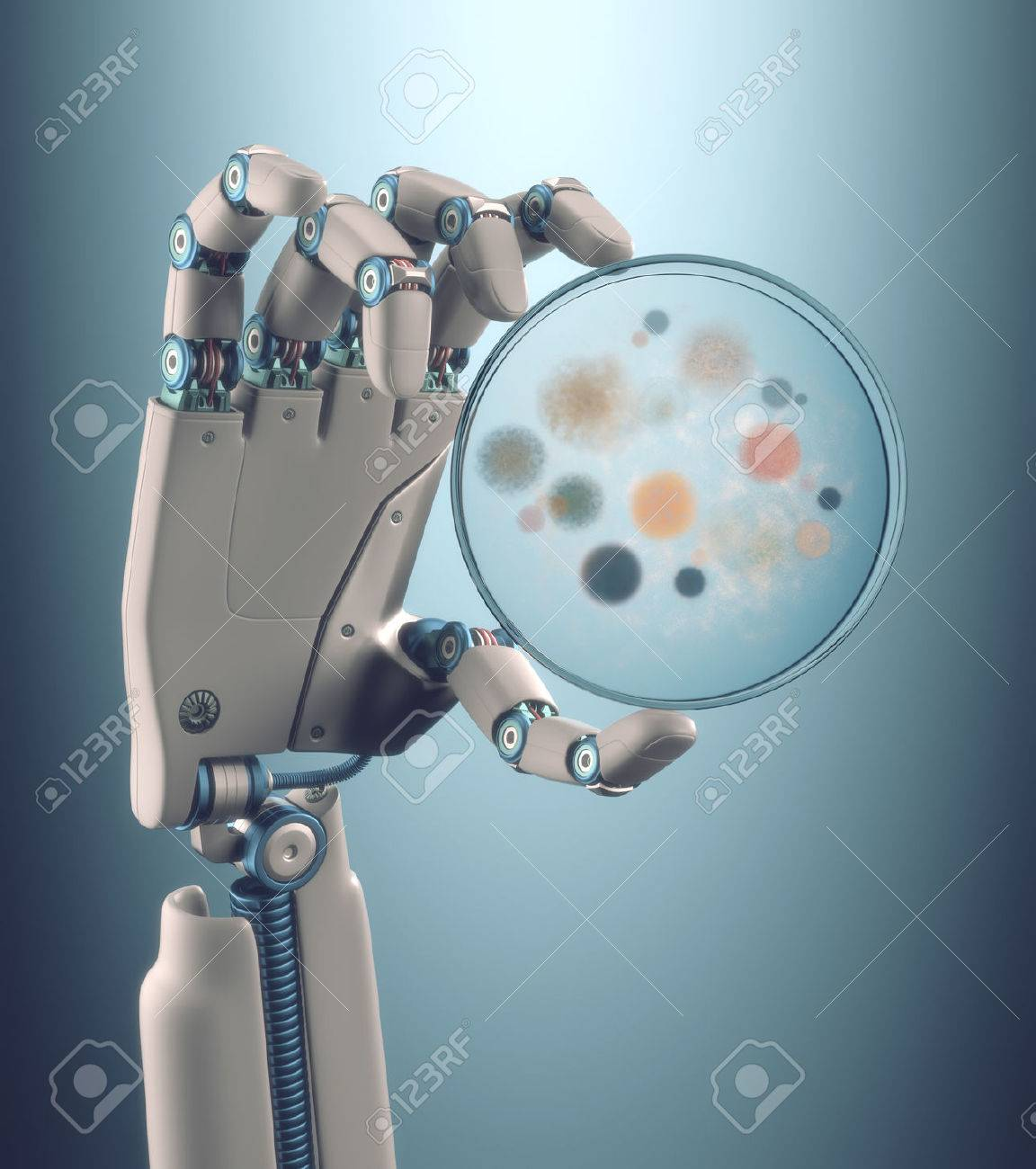Robot hand holding a petri dish with colonies of bacteria and fungi. - 32882524